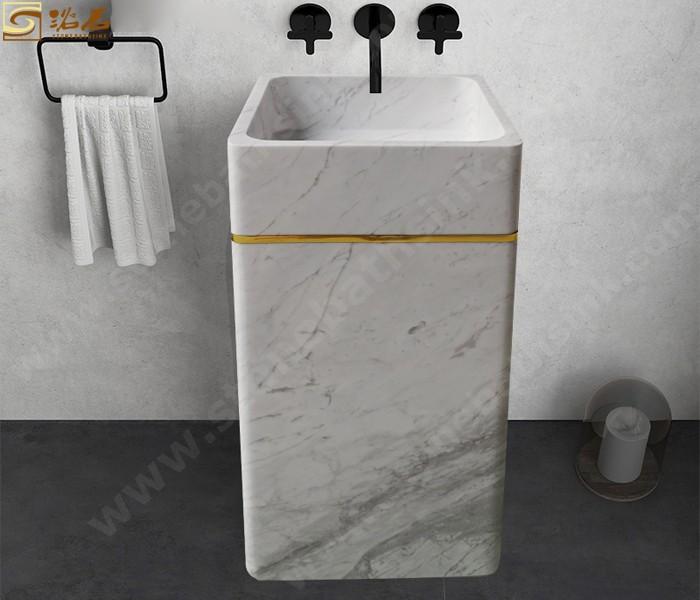 Carrara White Marble Barrel Sink