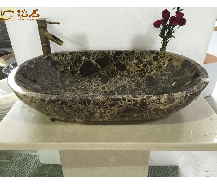 Dark Emperador Marble Oval Sink