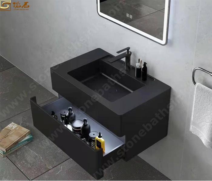Black Vanity top solid surface stone sink
