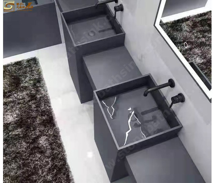 Black Artificial Stone Free Standing Sink