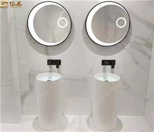White Solid Surface Stone Free Standing Sink