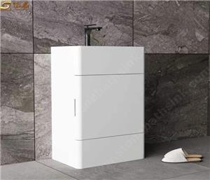 White Solid Surface Stone Pedestal Sink with Drawer Cabinet