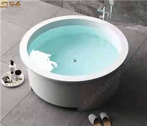 Round White Luxury Solid Surface Stone Bathtub