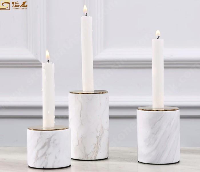 Carrara White Marble Stone Candle Holder