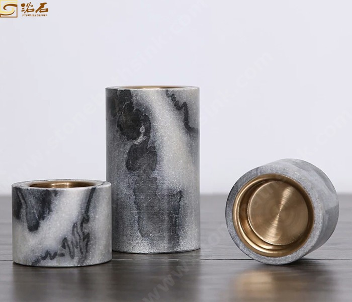 Cloudy Grey Marble Candle Holders