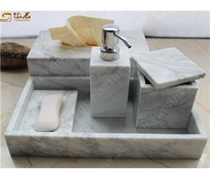 Carrara White Marble Bathrom Accessories and Tissue Box