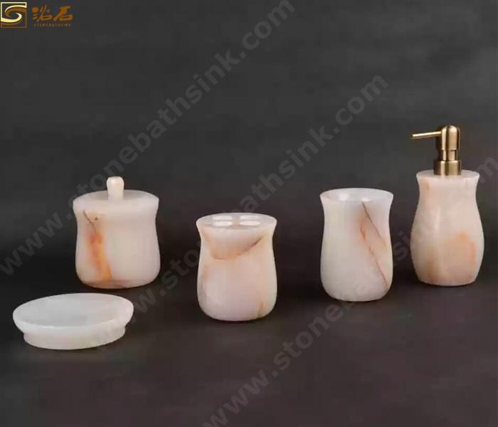 White Onyx Bathroom Accessories Sets