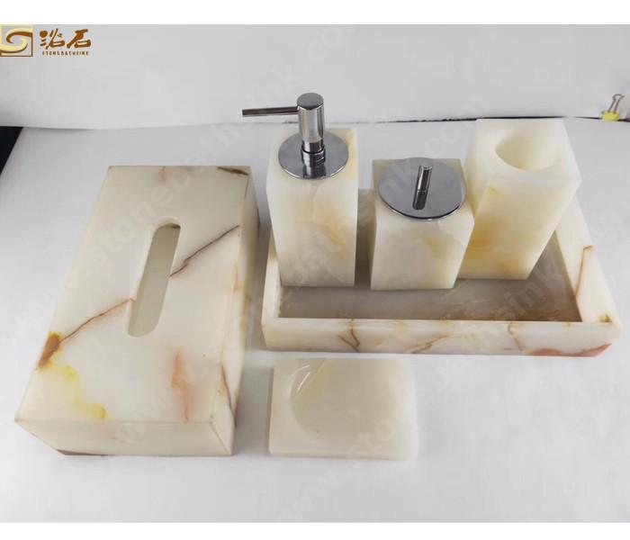 White Onyx Bathroom Accessories Dish Set