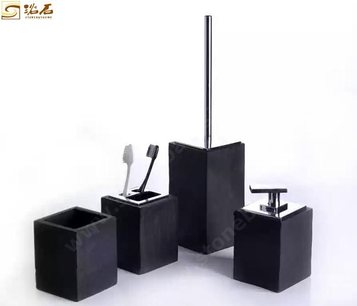 Shanxi Black Granite Toilet Brush Sets