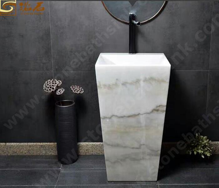 Guangxi White Marble Pedestal Sink