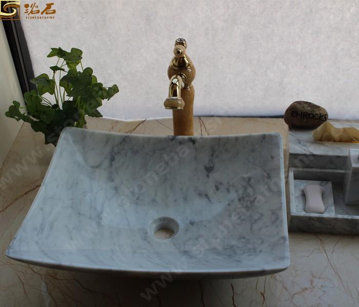 Carrara White Marble Bathroom Washbasin