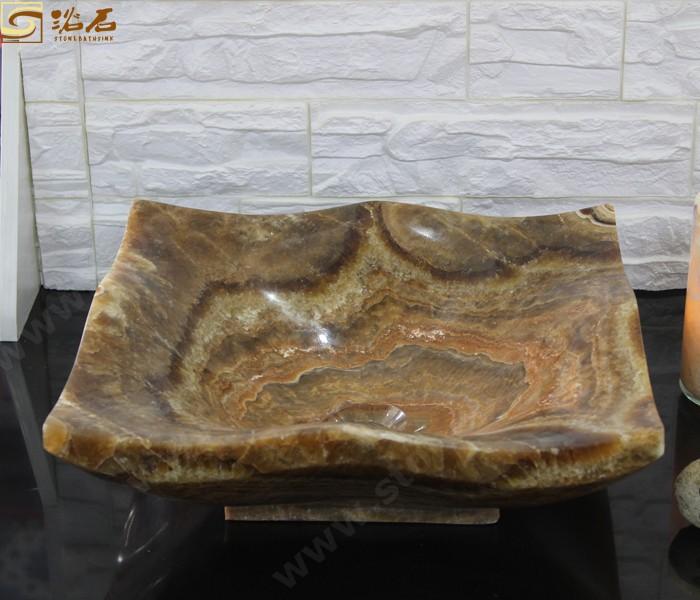 Brown Dragon Onyx Bathroom Basin