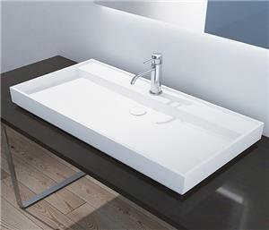 Solid Surface Countertop Basin Integrated Rectangular Bathroom Sink