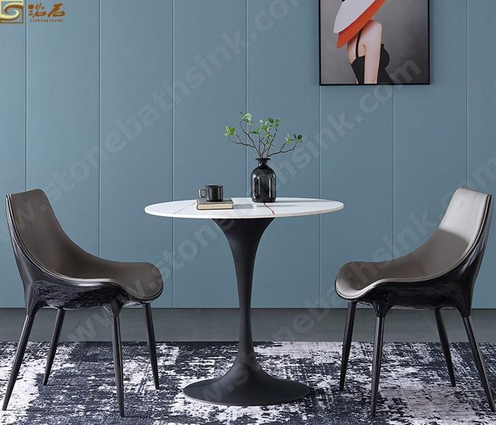 שולחן אוכל עגול מודרני מתכת רגל סינטרית אבן פו שולחן אוכל עליון