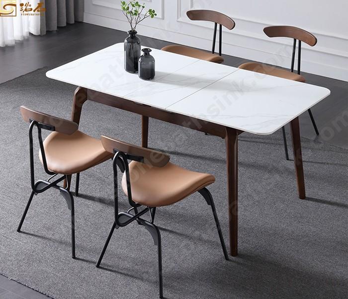 מכירה ישירה במפעל ערכות חדר אוכל בסגנון איטלקי 1 שולחן 6 שולחן אוכל אבן סינטרית