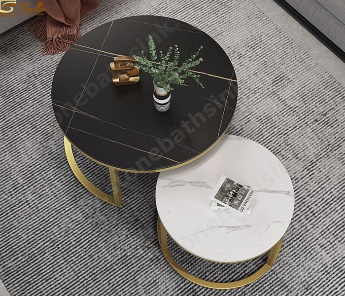 חמה למכירה סינטה אבן עליונה שולחן קפה ערכות שולחן צד לבן שולחן קפה
