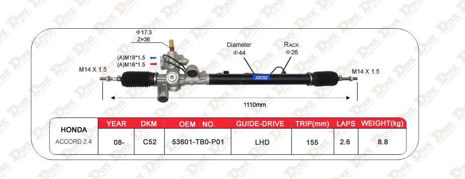 53601-tb0-p01 Steering Rack