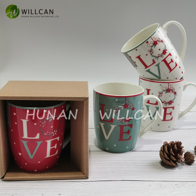 Christmas Love Green And Red Milk Mug With Decal