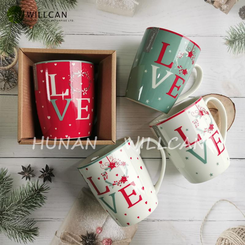 hand painted christmas mugs