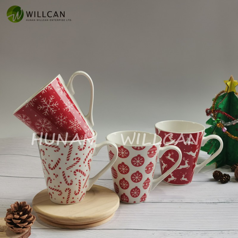Christmas Gift Red And White V Shape Coffee Mug With Decal Manufacturers, Christmas Gift Red And White V Shape Coffee Mug With Decal Factory, Supply Christmas Gift Red And White V Shape Coffee Mug With Decal