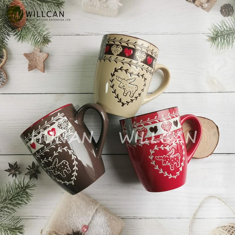 Hand Painted Reindeer Christmas Mug Manufacturers, Hand Painted Reindeer Christmas Mug Factory, Supply Hand Painted Reindeer Christmas Mug