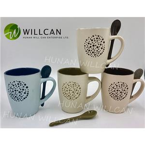 Speckled Circle Handmade Milk Mug With Spoon Set