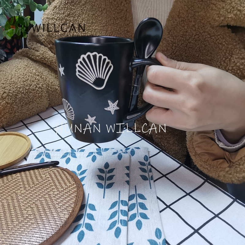 Shell And Star Hand Painted Coffee Mug With Spoon Manufacturers, Shell And Star Hand Painted Coffee Mug With Spoon Factory, Supply Shell And Star Hand Painted Coffee Mug With Spoon