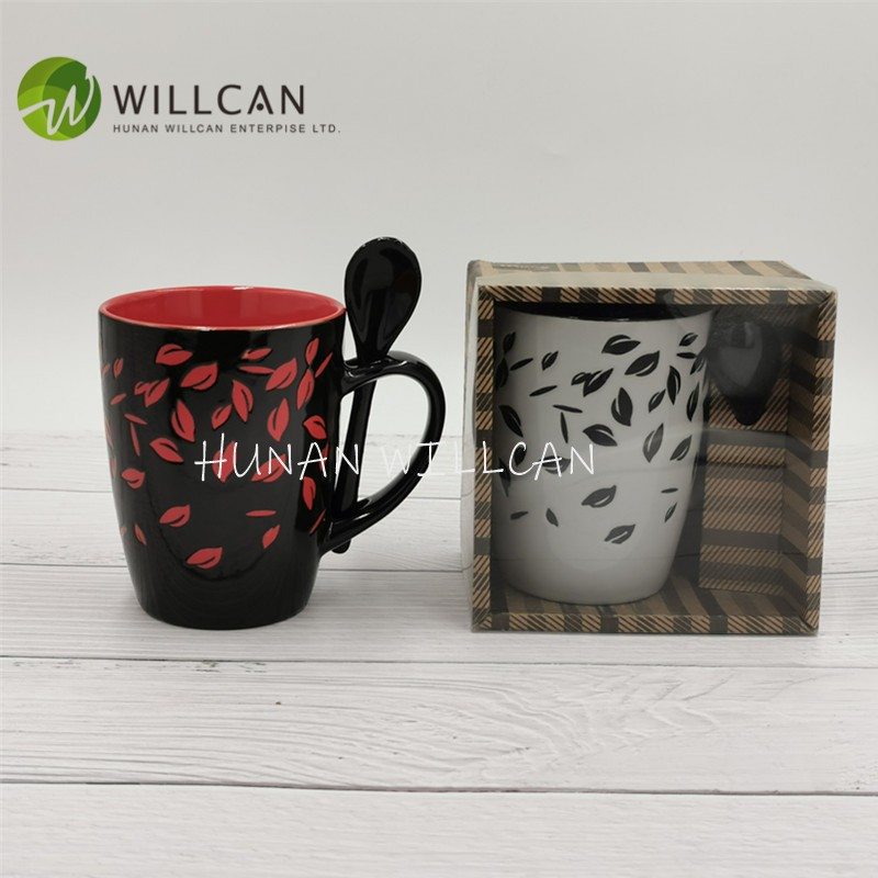 Leaves Hand Painted Coffee Mug With Spoon Manufacturers, Leaves Hand Painted Coffee Mug With Spoon Factory, Supply Leaves Hand Painted Coffee Mug With Spoon
