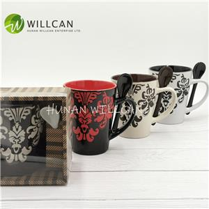 Classic Stoneware Hand Painted Coffee Mug With Spoon Set