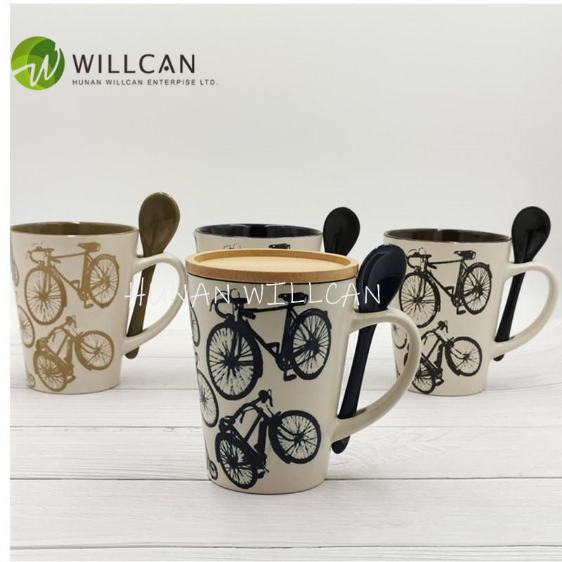 Bike Hand Painted Coffee Mug With Spoon Manufacturers, Bike Hand Painted Coffee Mug With Spoon Factory, Supply Bike Hand Painted Coffee Mug With Spoon