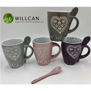 Heart Hand Painted Coffee Mug With Spoon
