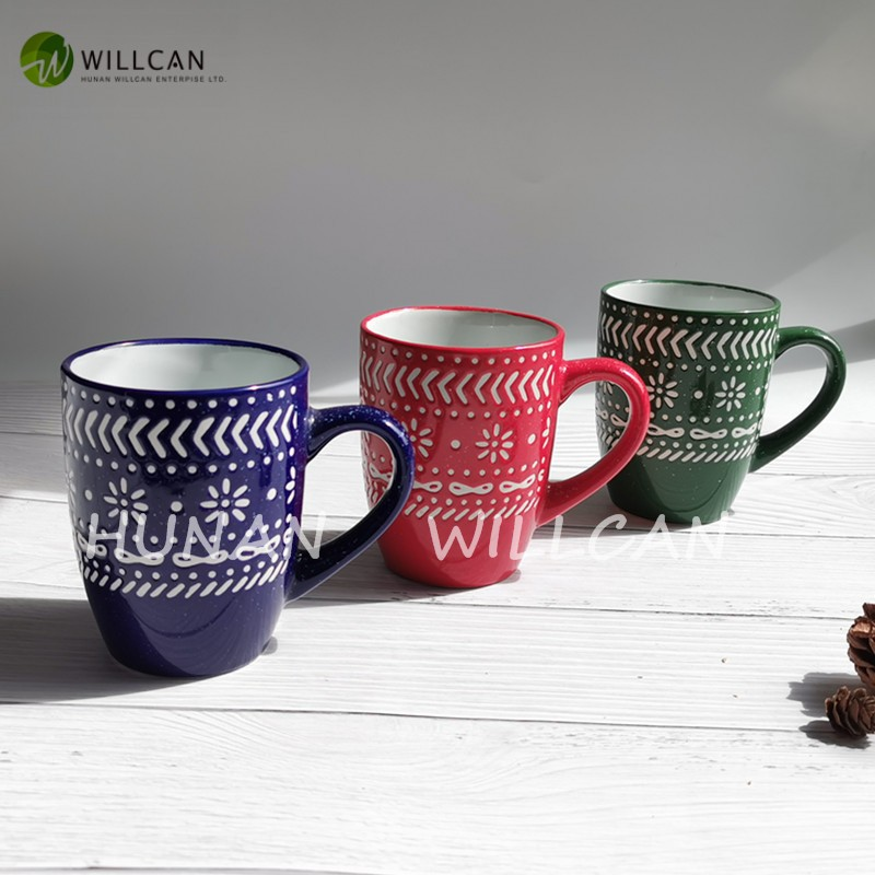 Happy Winter Hand Painted With Speckled Coffee Mug Manufacturers, Happy Winter Hand Painted With Speckled Coffee Mug Factory, Supply Happy Winter Hand Painted With Speckled Coffee Mug