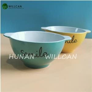 Colorful Smile Hand Painted Bowl With Handle