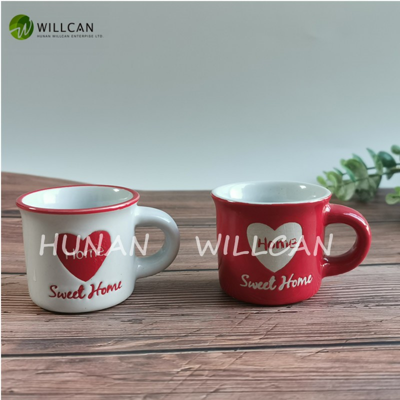 Sweet Home Hand Painted Small Enamel Cups