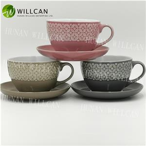 Reactive Glaze Soup Cup And Saucer Set