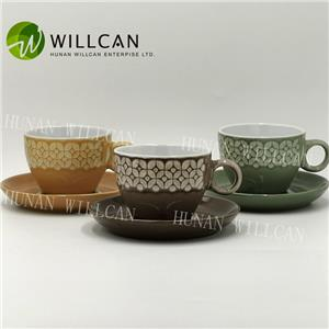 Reactive Glaze Tea Cup And Saucer Set