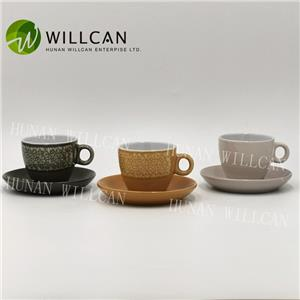 Cool Reactive Glaze Coffee Cup And Saucer Set