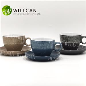Cool Reactive Glaze Tea Cup And Saucer Set