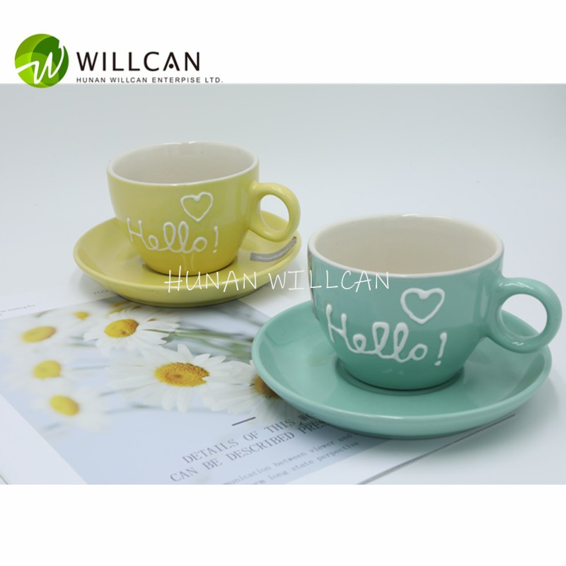 Macaron Color Hand Painted Tea Cup And Saucer Manufacturers, Macaron Color Hand Painted Tea Cup And Saucer Factory, Supply Macaron Color Hand Painted Tea Cup And Saucer