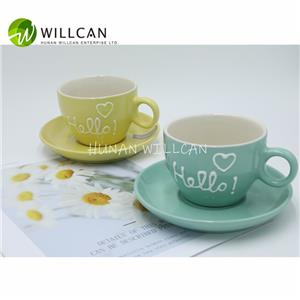 Macaron Color Hand Painted Tea Cup And Saucer