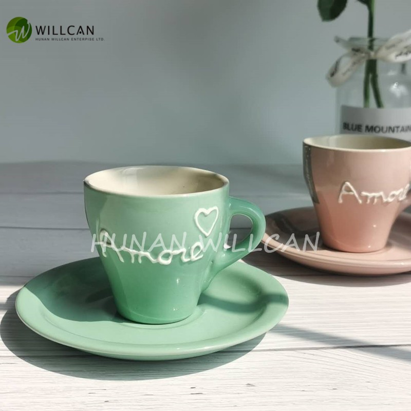 Macaron Color Hand Painted Coffee Cup And Saucer Manufacturers, Macaron Color Hand Painted Coffee Cup And Saucer Factory, Supply Macaron Color Hand Painted Coffee Cup And Saucer