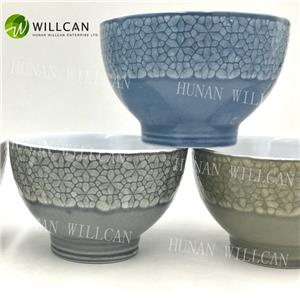Cool Reactive Glaze Hand Painted Bowl