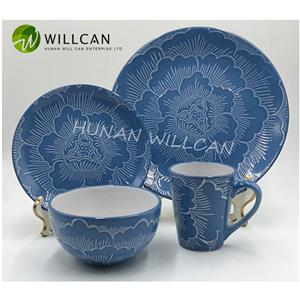 Blue Floral Embossed Reactive Glazed Dinner Set