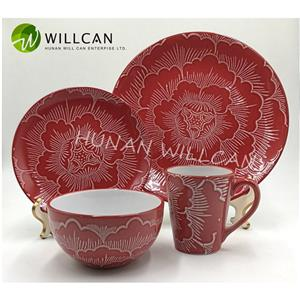 Red Floral Embossed Reactive Glazed Dinner Set