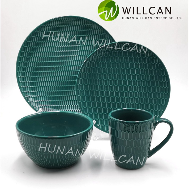 Green Embossed Color Glazed Dinner Set Manufacturers, Green Embossed Color Glazed Dinner Set Factory, Supply Green Embossed Color Glazed Dinner Set