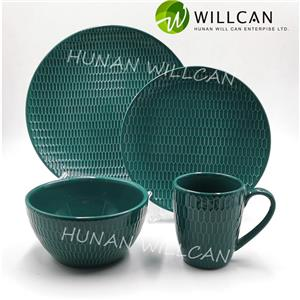 Green Embossed Color Glazed Dinner Set