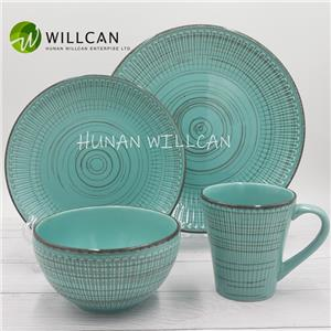 Blue Embossed Hand Painted Dinner Set