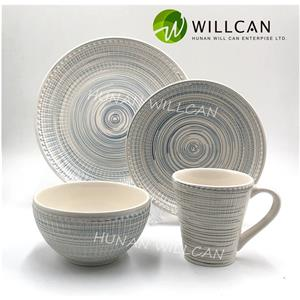 White Embossed Hand Painted Dinner Set