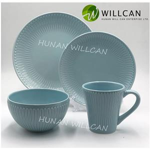 Blue Embossed Color Glazed Dinner Set