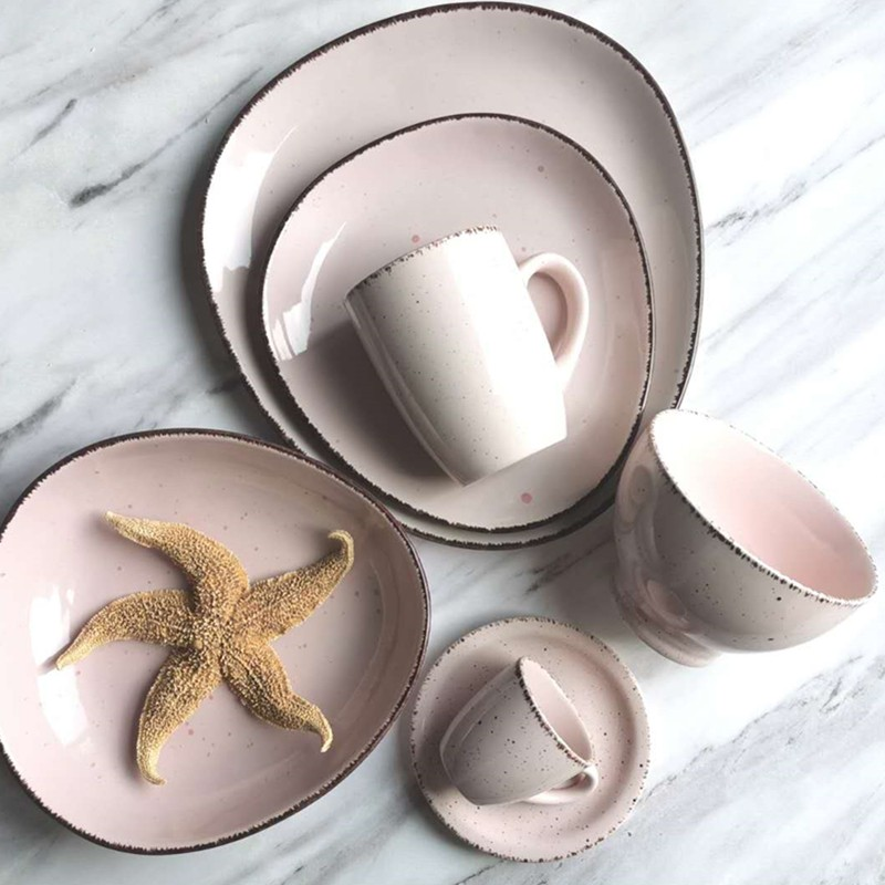 Shaped Speckled With Lid Dinner Set